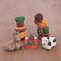 Ceramic nativity scene, 'Farm Nativity' (set of 5) - Hand-Painted Ceramic Nativity Scene from Peru