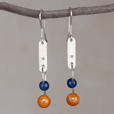 Agate dangle earrings, Blue Moon Orbit
