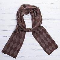 Men's alpaca blend scarf, 'Diamond Brown' - Men's Knit Alpaca Blend Scarf with Brown Diamond Patterns