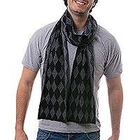 Men's alpaca blend scarf, 'Diamond Grey' - Men's Alpaca Blend Scarf with Grey Diamond Patterns