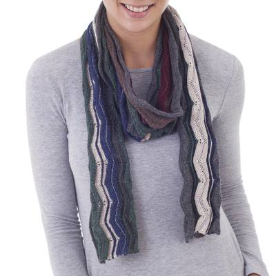 100% baby alpaca scarf, 'Bold Earth' - 100% Baby Alpaca Zigzag Striped Scarf from Peru