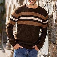 Men's 100% alpaca sweater, 'Mountain Sands' - 100% Alpaca Pullover Sweater for Men in Shades of Brown
