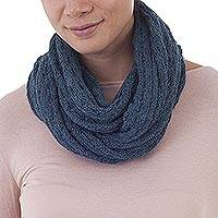 100% baby alpaca infinity scarf, 'Subtle Style in Teal' - 100% Baby Alpaca Infinity Scarf in Teal from Peru