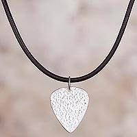 Sterling silver pendant necklace, 'Musical Spirit' - Sterling Silver Guitar Pick Pendant Necklace from Peru