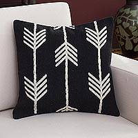 Wool cushion cover, 'Direction of the Wind' - Wool Cushion Cover with Arrow Motifs in Ivory and Black