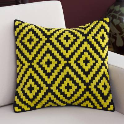 Wool cushion cover, Daffodil Diamonds