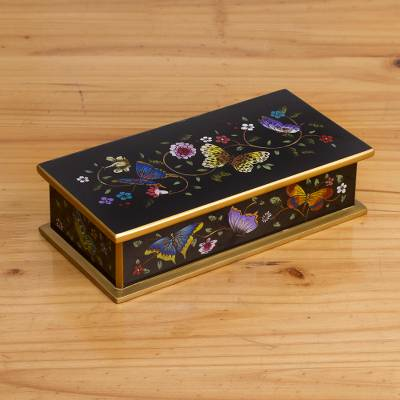 Reverse painted glass decorative box, 'Glorious Butterflies in Black' - Reverse Painted Glass Butterfly Decorative Box in Black