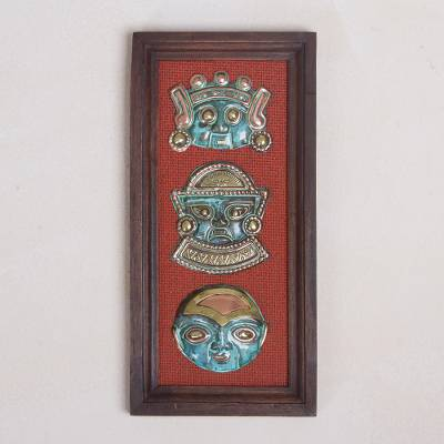Copper and bronze wall sculpture, 'Peruvian Culture' - Copper and Bronze Wall Sculpture of Ancient Masks from Peru