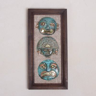 Bronze and copper wall sculpture, 'Warriors of the Past' - Copper and Bronze Ancient Mask Wall Sculpture from Peru
