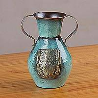 Copper and bronze decorative vase, 'Tumi and Wiracocha' - Copper and Bronze Cultural Tumi Decorative Vase from Peru