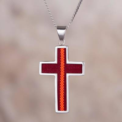 Sterling silver and fabric pendant necklace, 'Cross of the Andes' - Sterling Silver and Wool Blend Cross-Shaped Necklace