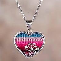 Sterling silver and fabric pendant necklace, 'Love from Peru' - Sterling Silver and Wool Blend Heart Necklace from Peru