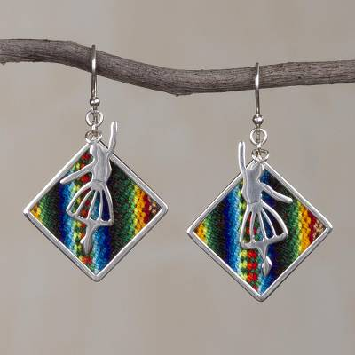 Sterling silver and wool blend dangle earrings, Dance of the Andes