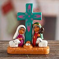 Ceramic decorative accent, 'Nativity of Happiness' - Hand-Painted Nativity Scene Decorative Accent from Peru