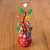 Ceramic decorative accent, 'United Beneath the Tree' - Painted Floral Nativity Scene Decorative Accent from Peru