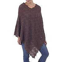 100% baby alpaca poncho, 'Scalloped Rosewood' - Soft Brown 100% Baby Alpaca Pointelle Knit Poncho