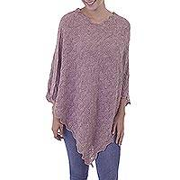 100% baby alpaca poncho, 'Scalloped Dusty Rose' - Dusty Rose Pointelle Knit Poncho in 100% Baby Alpaca