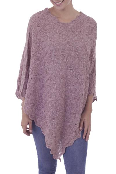 Dusty Rose Pointelle Knit Poncho in 100% Baby Alpaca