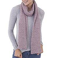 100% baby alpaca scarf, 'Solid Style in Dusty Rose' - 100% Baby Alpaca Wrap Scarf in Solid Dusty Rose from Peru