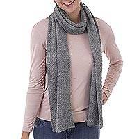 100% baby alpaca scarf, 'Solid Style in Smoke' - 100% Baby Alpaca Wrap Scarf in Solid Smoke Grey from Peru