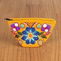 Alpaca blend coin purse, 'Bouquet Shopper' - Floral Alpaca Blend Coin Purse in Marigold from Peru