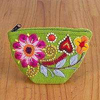 Alpaca blend coin purse, 'Trendy Shopper' - Embroidered Floral Alpaca Blend Coin Purse in Lime from Peru