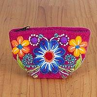 Alpaca blend coin purse, 'Andean Shopper' - Floral Alpaca Blend Coin Purse in Cerise from Peru