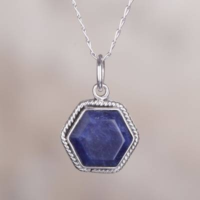 Sodalite pendant necklace, Blue Hexagon