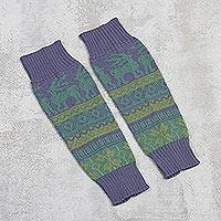 Alpaca blend leg warmers, 'Inca Landscape' - Knit Alpaca Blend Leg Warmers in Iris from Peru