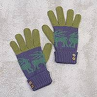 Alpaca blend gloves, 'Inca Landscape' - Knit Alpaca Blend Gloves in Iris from Peru