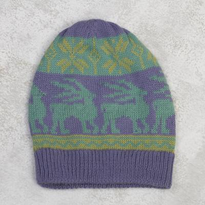 Alpaca blend hat, 'Inca Landscape' - Animal-Themed Knit Alpaca Blend Hat in Iris from Peru