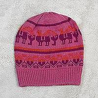 Alpaca blend hat, 'Alpaca Rainbow' - Knit Alpaca Blend Hat in Rose from Peru