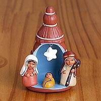Ceramic nativity scene, 'Birth Below the Star in Russet' - Hand-Painted Ceramic Nativity Scene in Russet from Peru