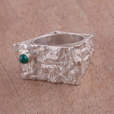 male rings silver objects - Sterling Silver and Chrysocolla Band Ring from Peru