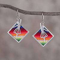 Sterling silver and wool blend dangle earrings, 'Andean Ballerina' (Peru)