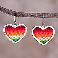 Sterling silver and wool blend dangle earrings, 'Rainbow Love' - Sterling Silver and Wool Blend Heart Earrings from Peru