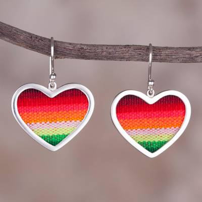 Sterling silver and wool blend dangle earrings, Rainbow Love