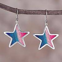 Sterling silver and wool blend dangle earrings, 'Feminine Stars' - Sterling Silver and Wool Blend Star Earrings from Peru