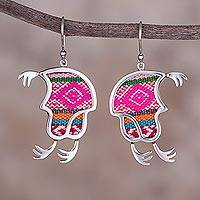 Sterling silver and wool blend dangle earrings Incan Chullo (Peru)