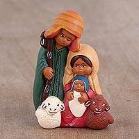 Ceramic nativity scene, 'Andean Christian Family' - Hand-Painted Ceramic Andean Nativity Scene from Peru