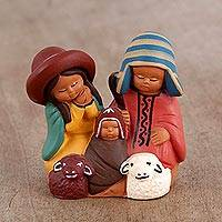 Ceramic nativity scene, 'Sweet Andean Family' - Cultural Hand-Painted Ceramic Nativity Scene from Peru