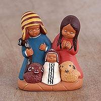 Ceramic nativity scene, 'Andean Home' - Hand-Painted Cultural Ceramic Nativity Scene from the Andes