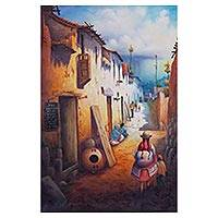 'Charming Path' - Original Signed Oil Painting of a Small Town in Peru