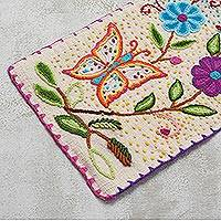 Wool table runner, 'Spring in the Andes' - Butterfly and Flower Themed Wool Table Runner