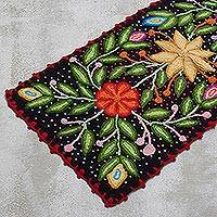 Wool table runner, 'Enchanted Nature' - Black Floral Table Runner Crafted of Wool from Peru