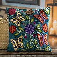 Wool cushion cover, 'Majestic Nature' - Embroidered Wool Cushion Cover with Butterfly Motifs