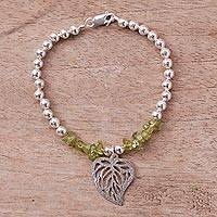 Peridot beaded bracelet, 'Mystic Leaf' - Peridot and Sterling Silver Beaded Leaf Bracelet from Peru