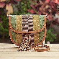 Leather accent wool shoulder bag, 'Earthen Chic' - Leather Accent Wool Shoulder Bag in Earth Tones from Peru