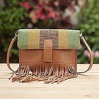 Wool accent leather shoulder bag, 'Earthen Muse' - Wool Accent Leather Shoulder Bag in Earth Tones from Peru