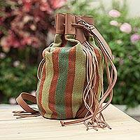 Leather accent wool bucket bag, 'Earth Adventurer' - Handwoven Leather Accent Wool Bucket Bag from Peru